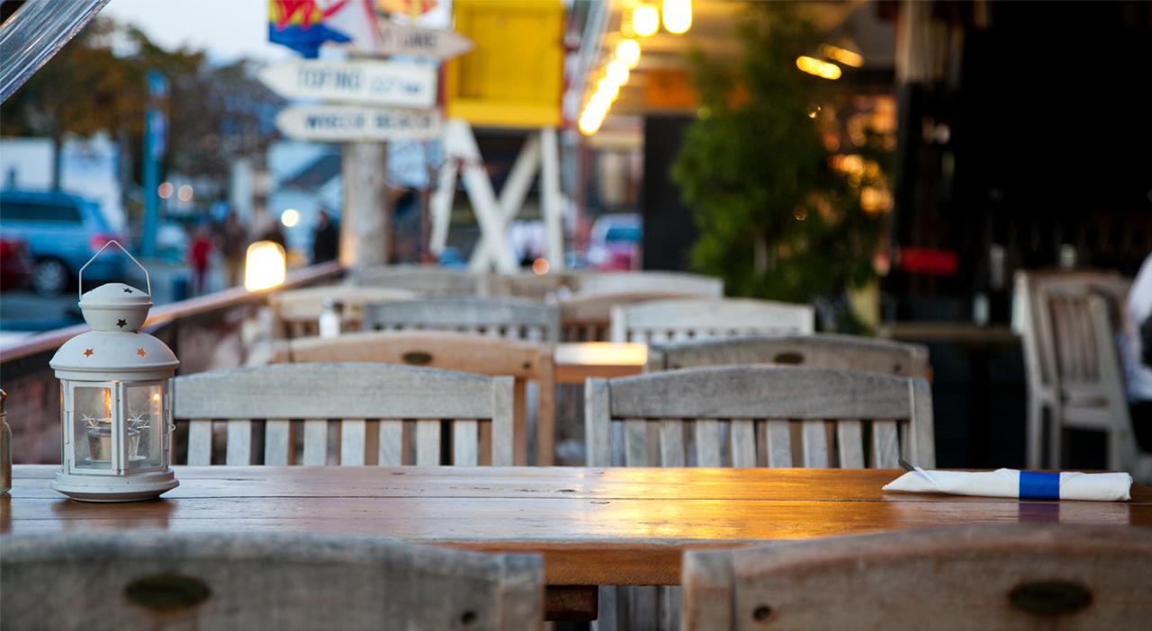 Outside Seating Area of Blue Canoe Restaurant