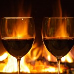 Wine glasses & fireplace, Shutterstock 2015